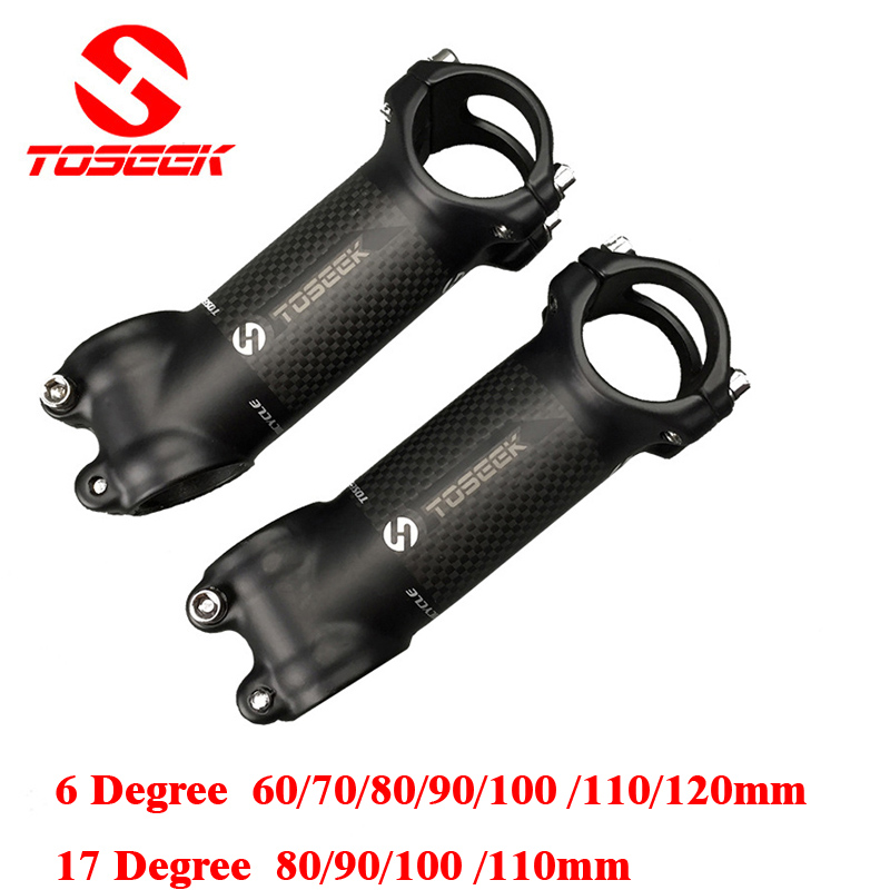 Aluminium Carbon Fiber Cykel Stångvägen Mountain Bike Stem MTB 6/17 Degree 31.8 * 60/70/80/90/100 / 110 / 120mm Bicicleta Parts