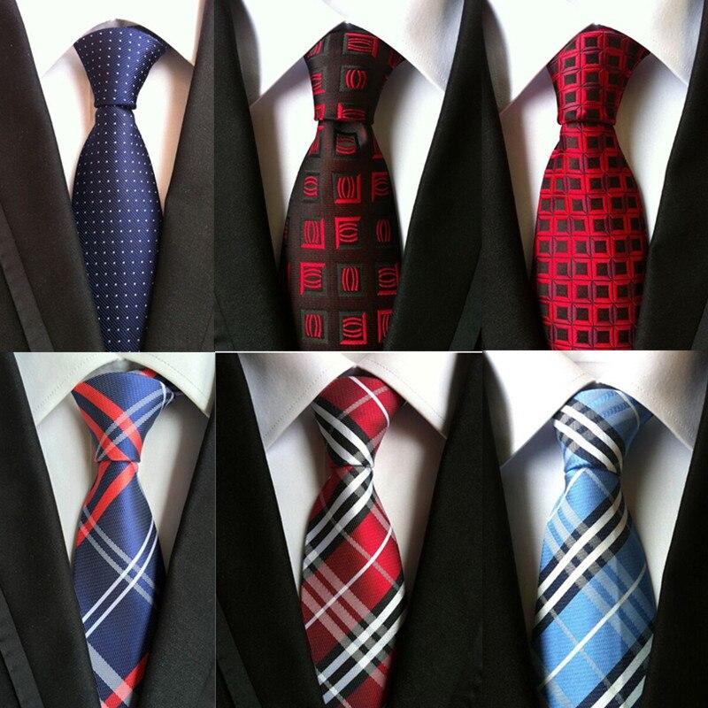 SHENNAIWEI 100% silk plaid ties men wedding cravate necktie
