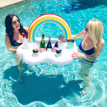 Rainbow Cloud Cup Holder With 4 Hold Inflatable Mattress Ice Bucket Table Bar Tray Pool Party Beer Drink Party Toy