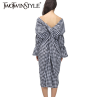 [TWOTWINSTYLE] 2019 Summer V Neck Back Knot Long Sex Dress Women Plaid Clothing New Fashion