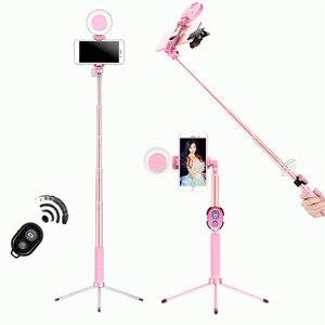 Image 1 - 1,2 m 1,7 m Erweiterbar live Stativ Selfie Stick LED Ring licht Stehen 4 in 1 Mit Einbeinstativ Telefon Montieren für iPhone Android SmartPhone