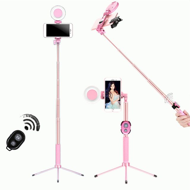 1,2 m 1,7 m Erweiterbar live Stativ Selfie Stick LED Ring licht Stehen 4 in 1 Mit Einbeinstativ Telefon Montieren für iPhone Android SmartPhone