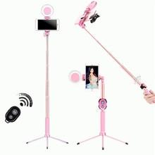 1.2m 1.7m extensível ao vivo tripé selfie vara led anel luz suporte 4 em 1 com monopé telefone montagem para iphone android smartphone