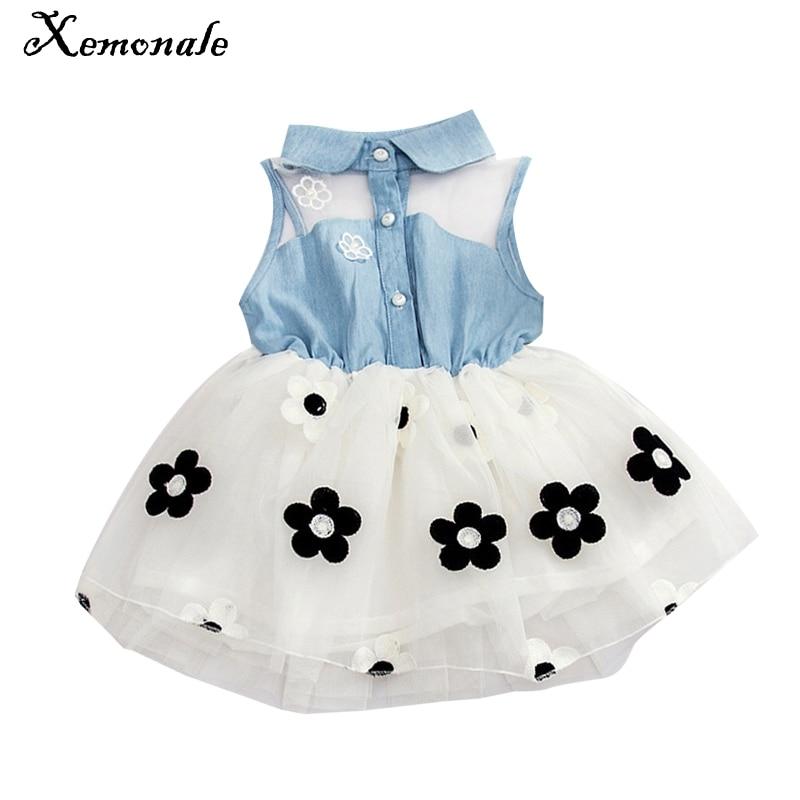 Xemonale 2017 Baby Girl Kid Denim Top Sleeveless Princess Dress Tulle Tutu Mini Dress Princess Summer