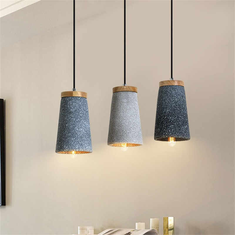 Vintage Loft Decor LED Pendant Light Cement Wood Lamp Edison Retro HangLampen Dining Room Lights Antique Industrial Lighting