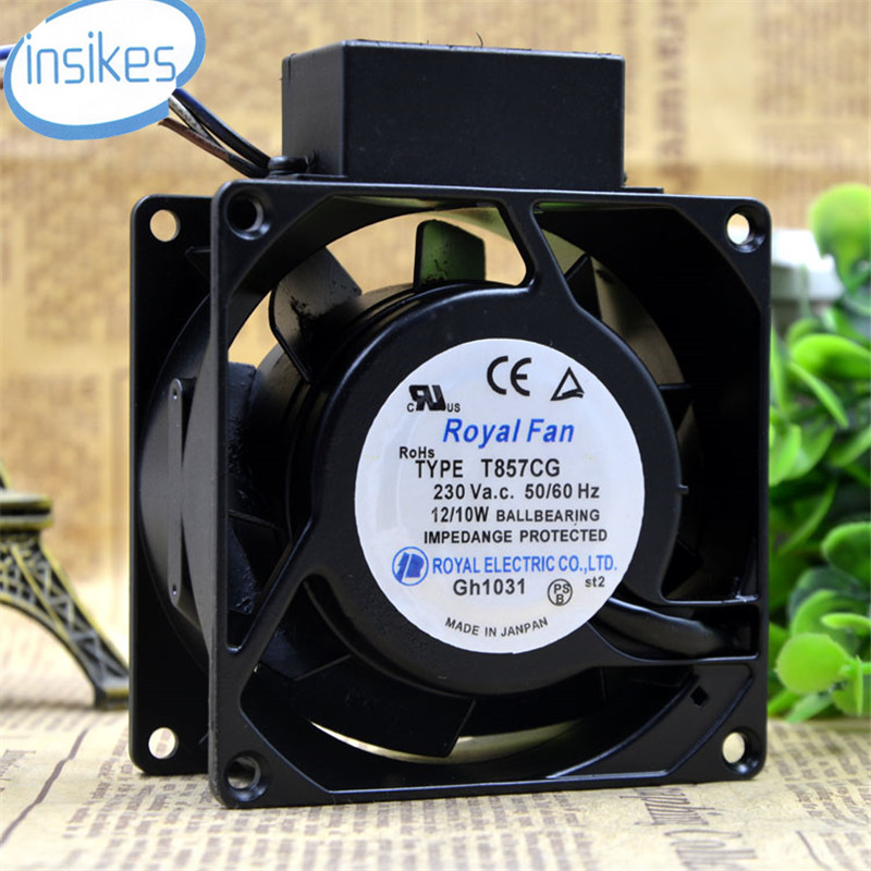 TYPE T857CG High Temperature Cooling Fan AC 230V 12W 8038 8cm 80*80*38mm 3 Wires 50/60HZ szytf new and original spindle cooling fan 4656ez 230v 0 12a 19w high temperature fan 108 38mm