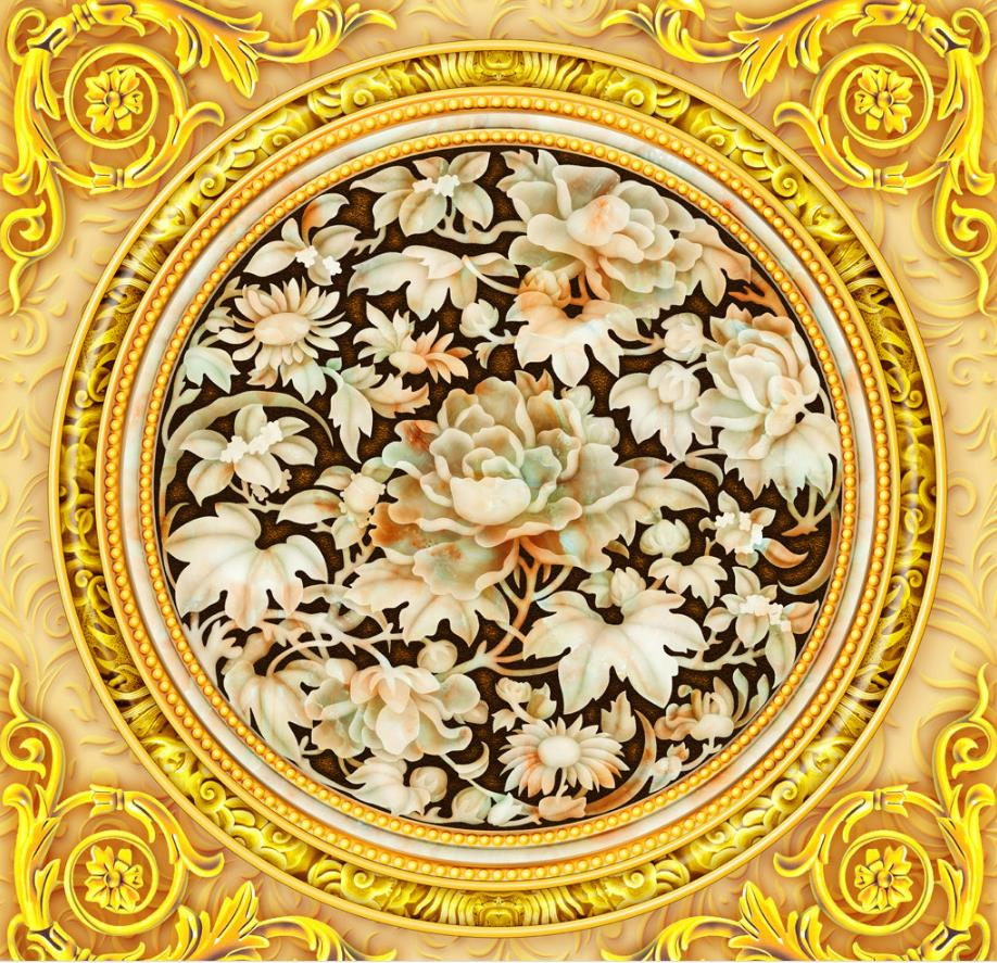 High Quality Classical Jade Flowers Ceiling Murals Wall papers ...