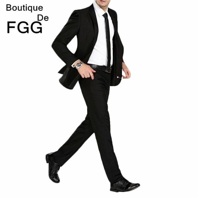 FGG Size 29-40 Wrinkle Free Wedding Black Mens Formal Pants Office Workwear Casual Men Suit pants Slim Fashion Business Trousers