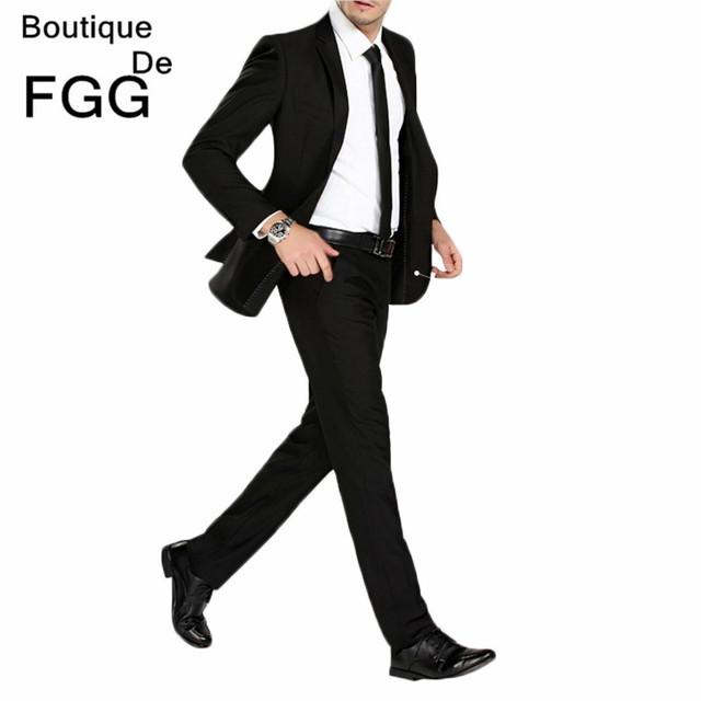 Tamaño 29-40 Libre de Arrugas Boda FGG Negro Mens Pantalones Formales ropa de Trabajo de Oficina Informal de Los Hombres de Traje Delgado de Moda Pantalones de negocios