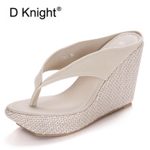 D Knight Summer Bohemian Sandals Women Black Slip On Platform Wedges Sandals Big Size 41 9.5cm High Heel Slippers Flip Flops Red lucyever women shoes flip flops 2018 new summer rhinestones high heel slip on women slipper black blue flip flops size 35 41