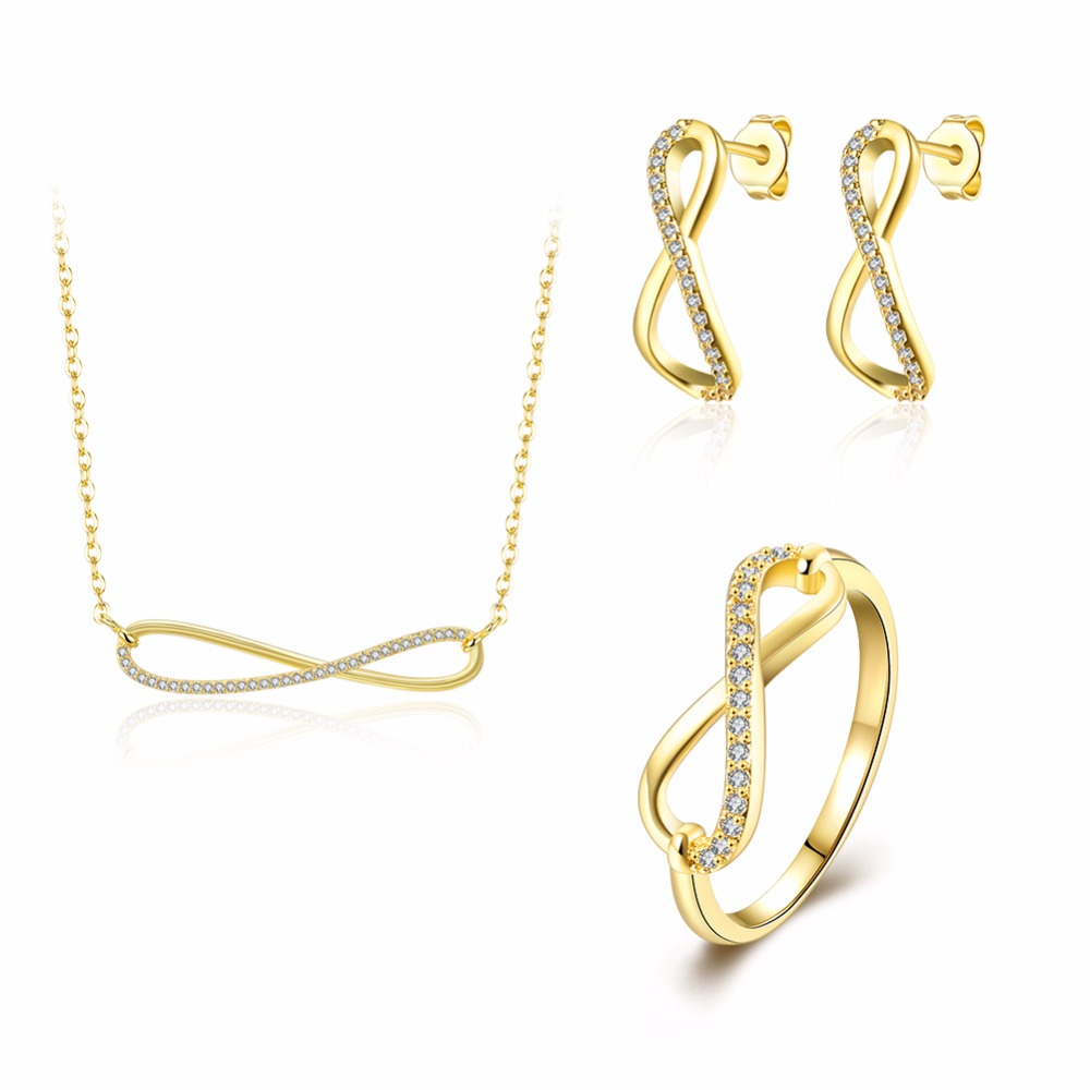 INALIS Fashion Femme Simple Design Lucky Numbers 8 Infinity Sign Necklace earrings rings sets Women Accessories Gift for Girls