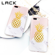 LACK Soft IMD Marble Phone Case For iphone 7 Case Stone Pattern Geometric Splice Cover Gold Pineapple Cases For iphone 7 Plus