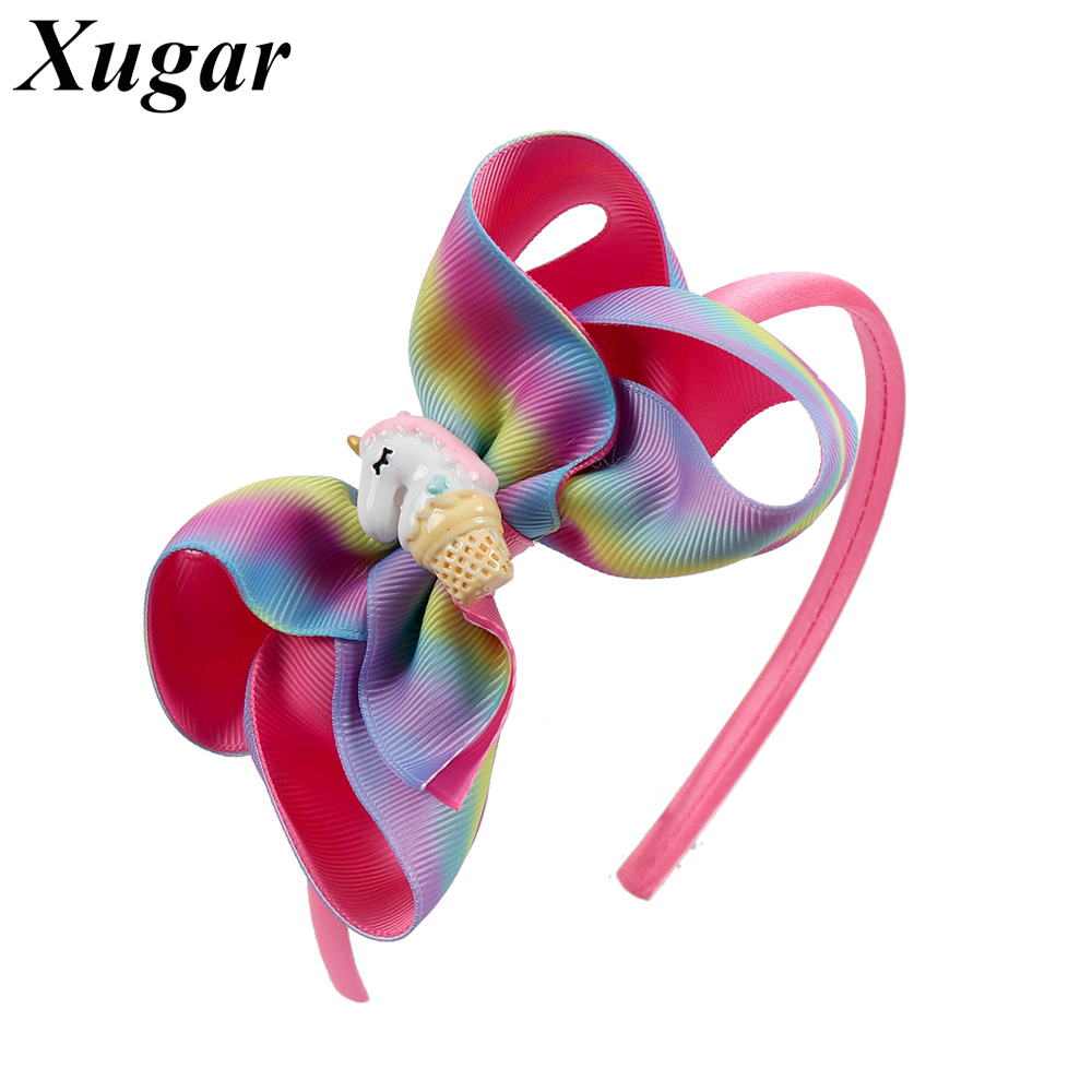 4 Rainbow Hair Bows Hairband For Kids Grosgrain Ribbon Boutique Handmade Headbands Girls Hair Accessories