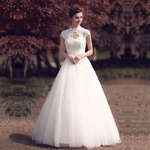 Beauty Emily White Lace Up Beads Pears Wedding Dresses 2019 Formal Party Gowns Vestido De Novia Backless O neck