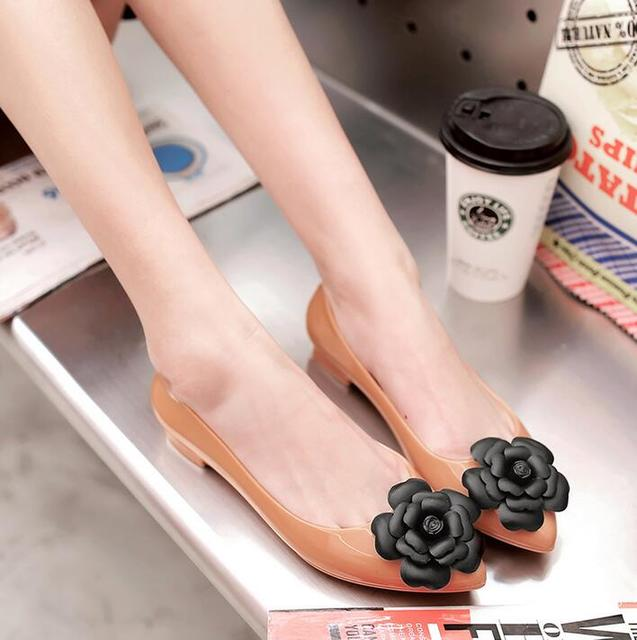 6975209c2 Fashion woman jelly shoes pointed toe lady flat rain sandals women student  summer beach sandal candy color Camellia flower 36-41