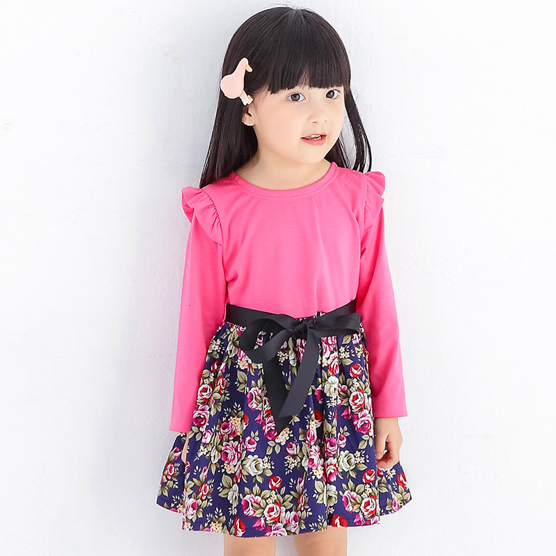 2017 Girls Dress Summer solid clour Spliced  Floral Print Teenagers - Children's Clothing - Photo 3