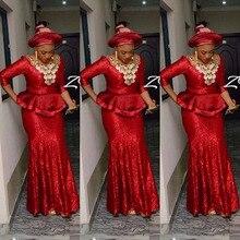 Neu Kommen 2017 Südafrikanischen Hot Red Abendkleid Nigerianischen Formale Partei Spitze Afrikanische Appliques Abendkleid Nach Maß Kleider