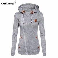 XUANSHOW 여자 패션 양털 스웨터 여성 후드 캔디 색 스웨터 긴 소매