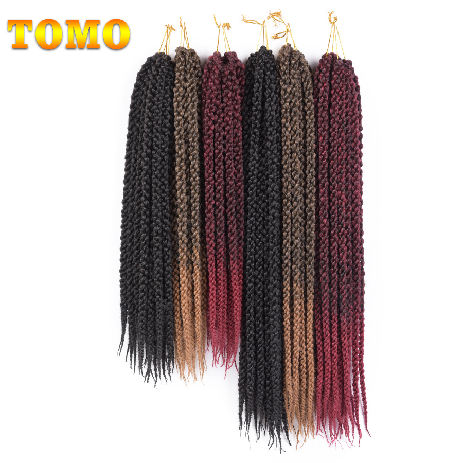 TOMO 18 22 3D Cubic Twist Crochet Braids Ombre Braiding Hair Synthetic Kanekalon Crochet Hair Extensions