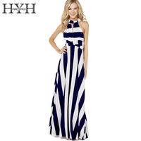 HYH HAOYIHUI Color Block Stripe Long Dress Women Cut Out High Waist Bodycon Maxi Dress Ladies