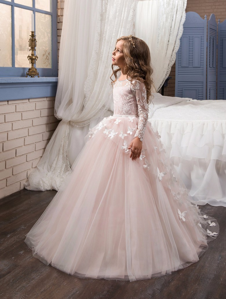 Fancy Flower Girl Party Dress Child Long Sleeves Butterfly Pink Mesh Ball Gowns Kids Holy Communion Dresses for Girl custom made