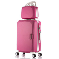 Man Rolling luggage Set 2PCS 14+24 suitcase trolley case ABS +PC travel bag set student laptop box Woman carry on cosmetic case