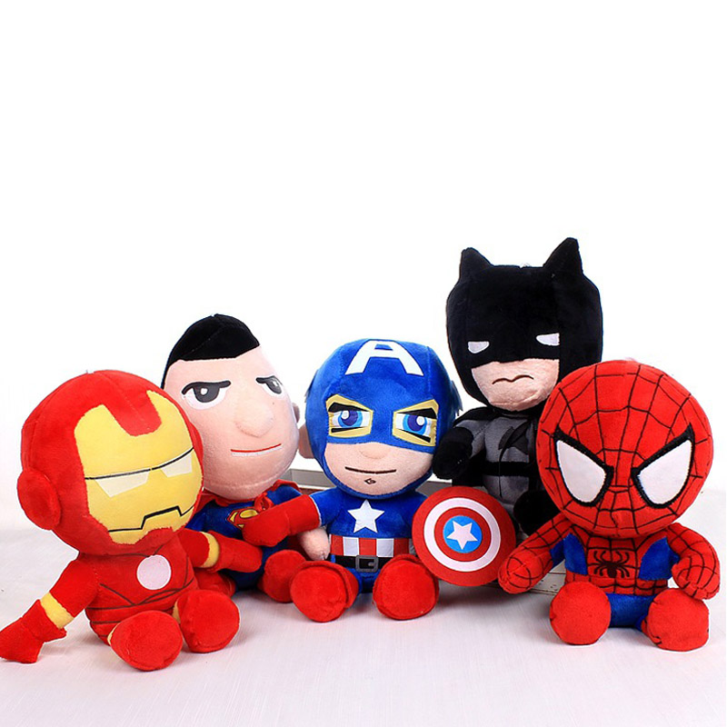 Wholesale 10pcs lot Q style Spider man Captain America Stuffed toys Super hero Batman toys soft
