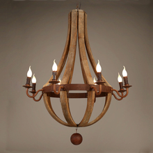 Wooden Candle Chandelier Vintage Iron Bois Lustre Pendant Chandeliers Lighting Living Room Kitchen Bedroom Retro Light Fixtures vintage american chandeliers living room light fixtures copper wrought iron white fabric lampshade chandelier lustre 110 240v