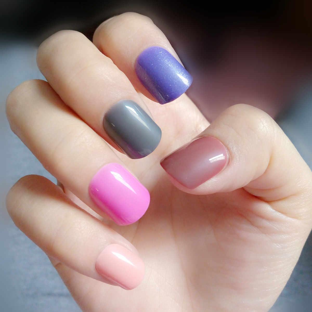 24 sztuk błyszczące sztuczne paznokcie ładny różowy akrylowe sztuczne tipsy krótkie pani paznokci DIY do paznokci salon artystyczny Manicure produkt 006