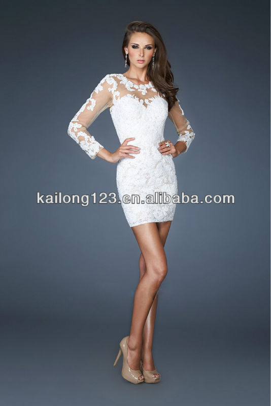 Aliexpress.com : Buy Stunning Long Sleeves Sheer Top Lace Back ...
