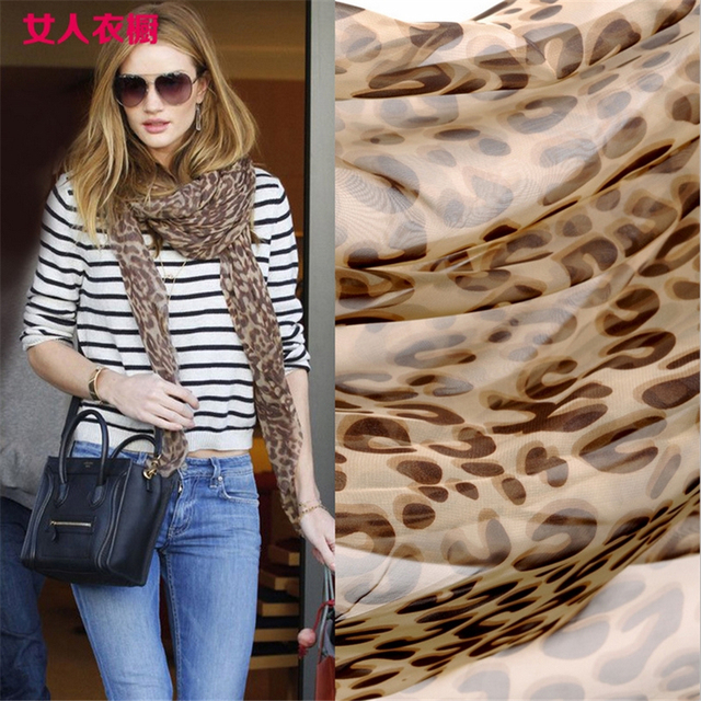2016 women fashion Sexy Leopard long scarf 50% chiffon & 50 % real silk lady's sunscreen Georgette shawl wraps scarve 200*150 cm