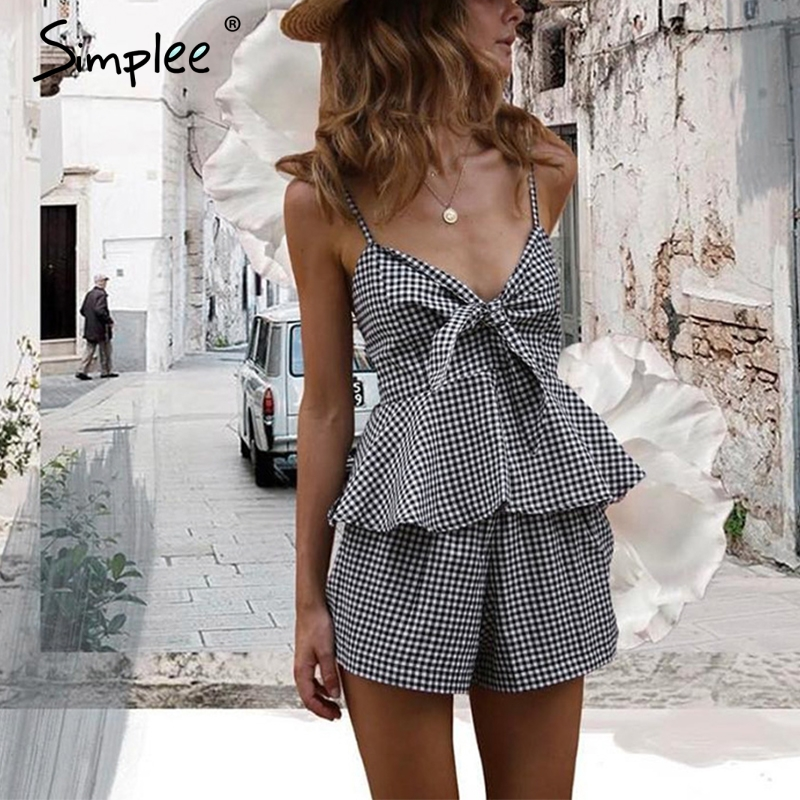 Simplee Causal bow black plaid strap sleeveless   jumpsuit   romper Sexy backless two-piece playsuit Women v neck ruffle overalls