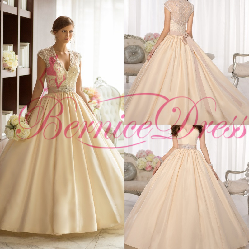 Wedding Ball Gowns 2014: Ball Gown Wedding Dresses 2014 Ivory V Neck Court Train