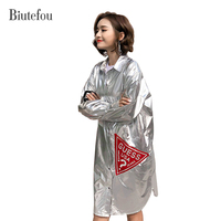 2018 Spring Fashion Metallic Color Long Shirts Women Cartoon Sequined Patch Designs Shirts