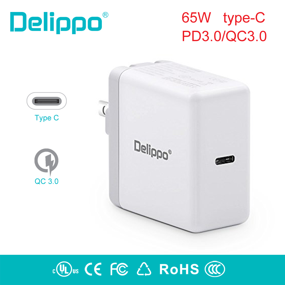 Delippo 65W USB-C Type-C PD3.0 Wall Charger Power Supply laptop Adapter Charger for HP Elite X2,Samsung Tabpro s XIAOMI ,Google usb type c pd wall charger fast charging power adapter for new macbook pro dell 9350 acer r13 samsung asus hp