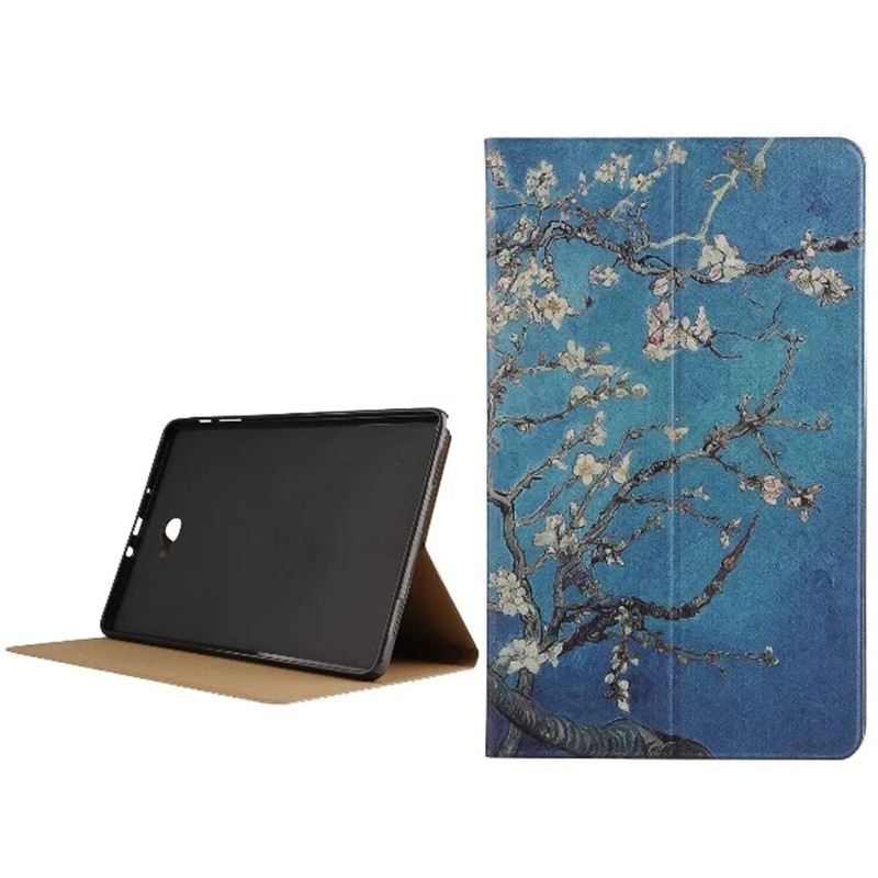 Fashion Cute Vintage Style Leather Stand Case Cover For Samsung GALAXY Tab A A6 10.1 P580 P585 Painted Cover+Stylus