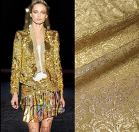 Italy shiny gold thread imported high grade jacquard silk fabric DIY handmade suit jacket fabric