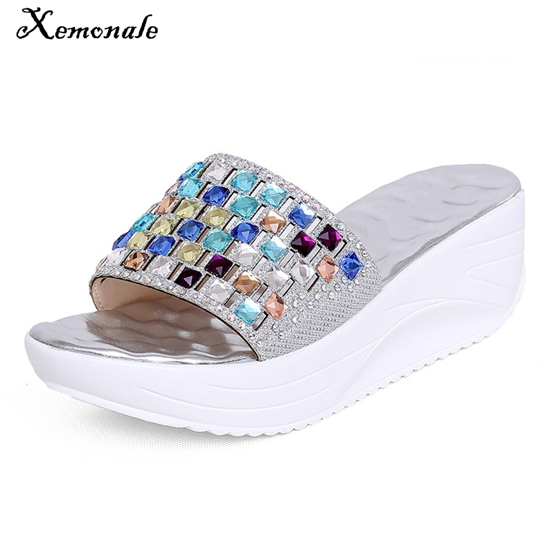Xemonale Gold Silver Wedges Sandals Summer Platform Shoes Woman Slip On Creepers Rhinestone Flats Casual Flip Flops XWZ2264 lanshulan bling glitters slippers 2017 summer flip flops shoes woman creepers platform slip on flats casual wedges gold