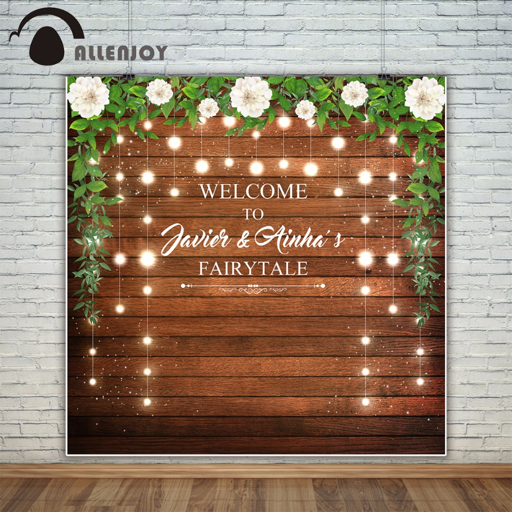 Allenjoy wedding custom photography backdrop photo studio wood party decor celebrate Background photocall photobooth photocall photographic studio background white clouds blue dinette chinese style new born professional xmas photocall background pictures