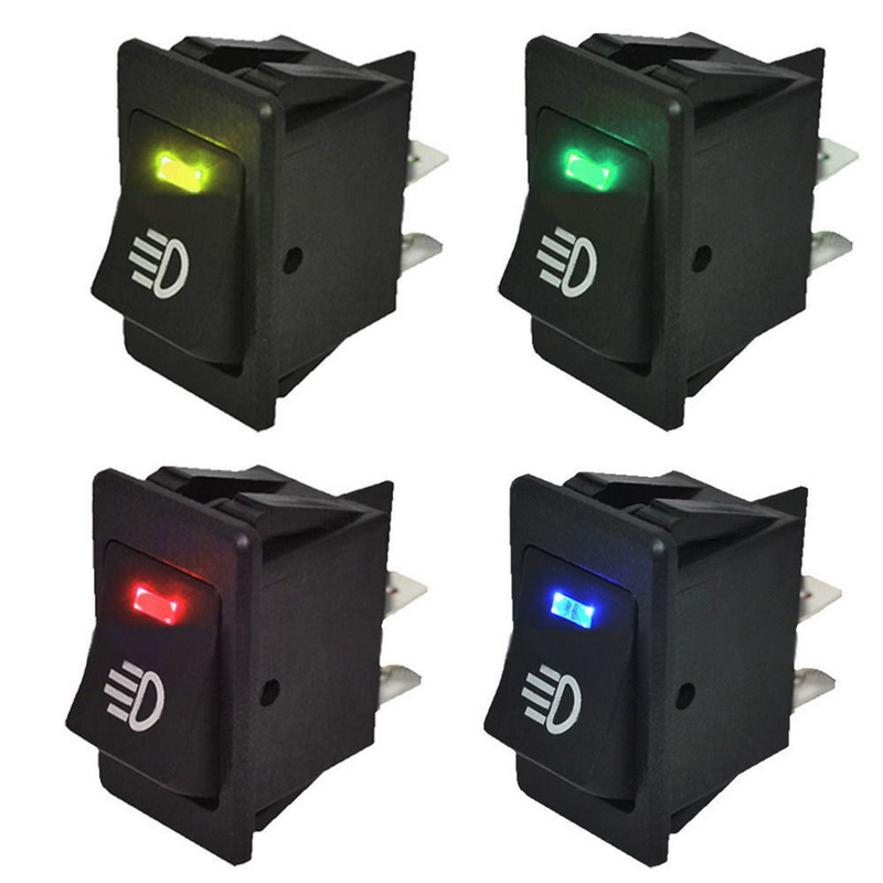 4Pcs Blue Green Red Yellow 12V 35A Universal Car Fog Light Rocker Switch LED Dash Dashboard 4Pin VEQ18 P30