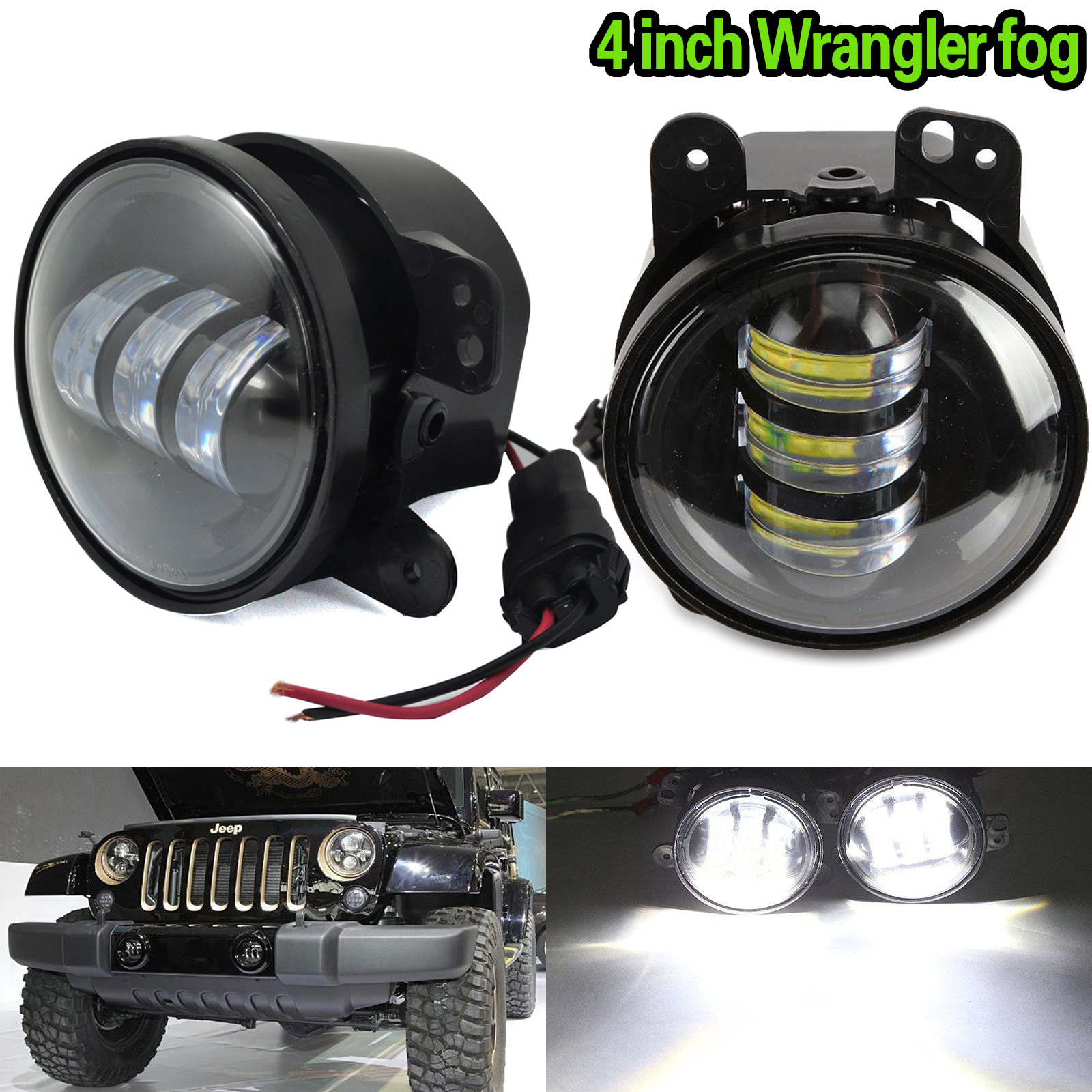 1 Pair 4inch 30W Car LED Fog Light Projector for Jeep Wrangler JK CJ Driving DRL Bulb DXY88 pair 4 inch led fog light projector driving light for 10th anniversary front bumper of jeep wrangler jk 07 front bumper lights