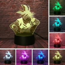 Anime Dragon Ball Z God Goku Super Saiyan Action Figures 3D Illusion Table Lamp 7 Color