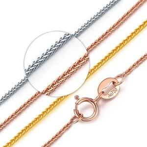 Image 2 - Prawdziwy 18 karatowy złoty łańcuszek naszyjnik 18 cali au750 naszyjnik dla kobiet, różany złoty biały złoty żółty złoty łańcuszek naszyjnik biżuteria prezent