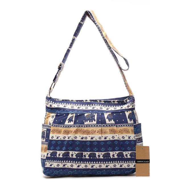 Women Shoulder Bag Cotton Fabric Flap Bag Bohemian Style Messenger Bag Elephant Print Crossbody Zipper Bag 1