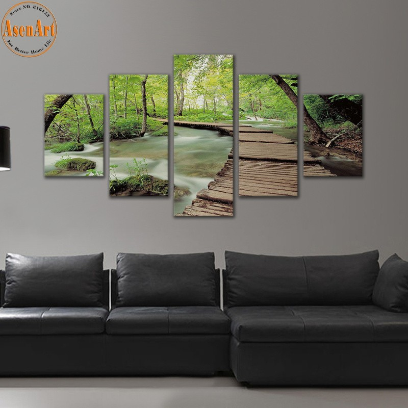 5 Panel Printed Canvas Painting For Living Room Seascape Art Prints Wood  Bridge Landscapes Picture Frame Wall Art
