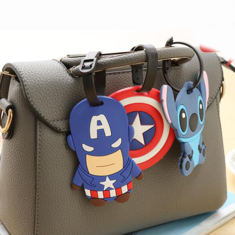 Cute Captain America Luggage Travel Accessories Tag Silica Gel Suitcase ID Addres Holder Baggage Boarding Tag Portable Label