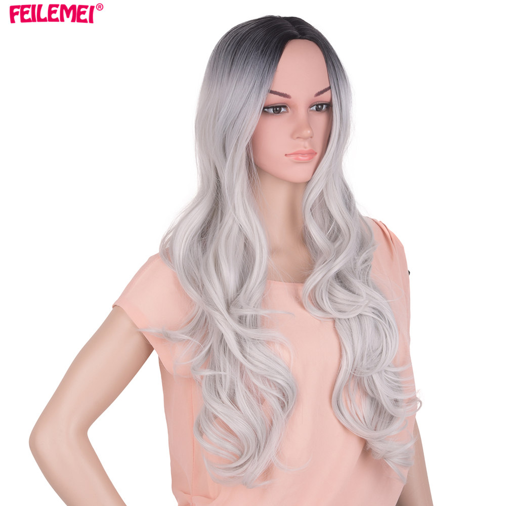 Feilimei Ombre Gray Wig Synthetic High Temperature Fiber Long Wavy Famale Hair 65cm 300g Colored Black Purple Pink Cosplay Wigs