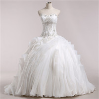 Pleat Tulle Ball Gown Wedding Dress 2015 Hot Real Photo China Dress Shop Bridal Dresses Vestidos