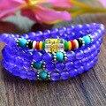 New Fashion 6mm Violet Chalcedony  Tibetan Buddhist 108 Prayer Beads Necklace Gourd mala Prayer Bracelet for Meditation