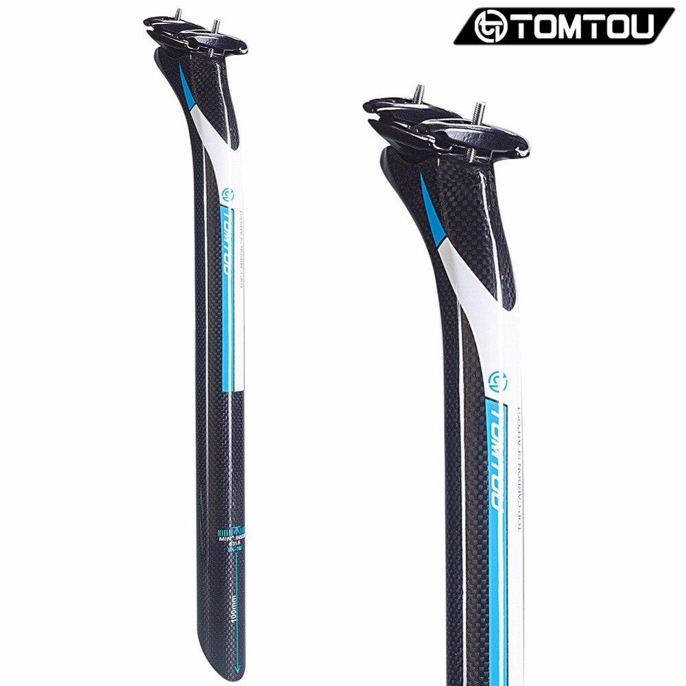 TOMTOU Carbone Tige de Selle 27.2/30.8/31.6*350mm/400mm Montagne vélo tige de Selle Offset 25mm VTT Route Vélo Pièces Bleu-TF8T12